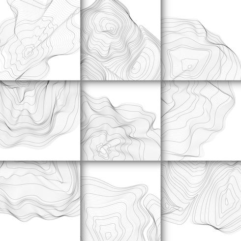 monochrome abstract contour lines