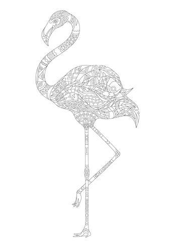 Malvorlage eines Flamingos - Download Kostenlos Vector
