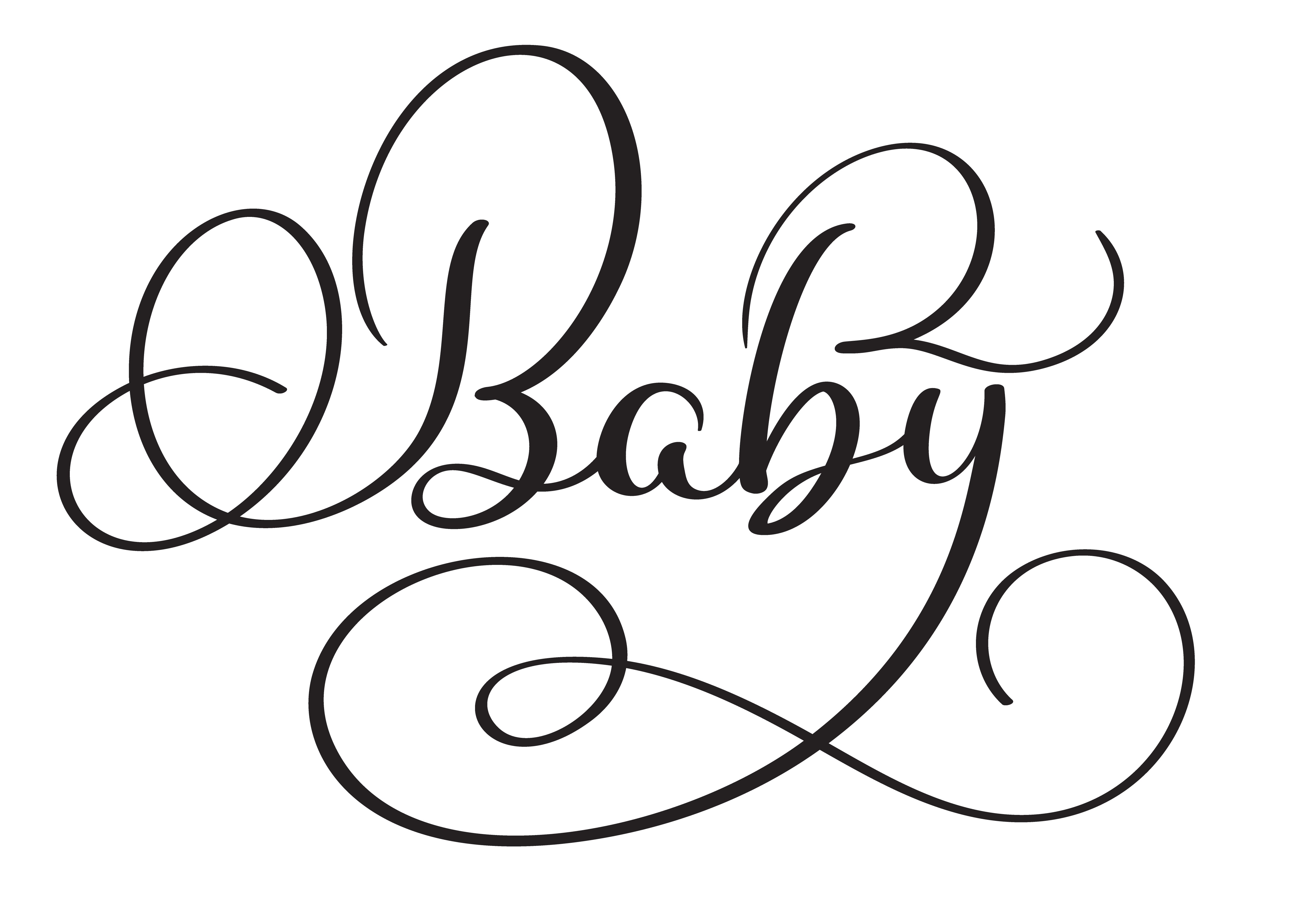 Baby word on white background. Hand drawn Calligraphy