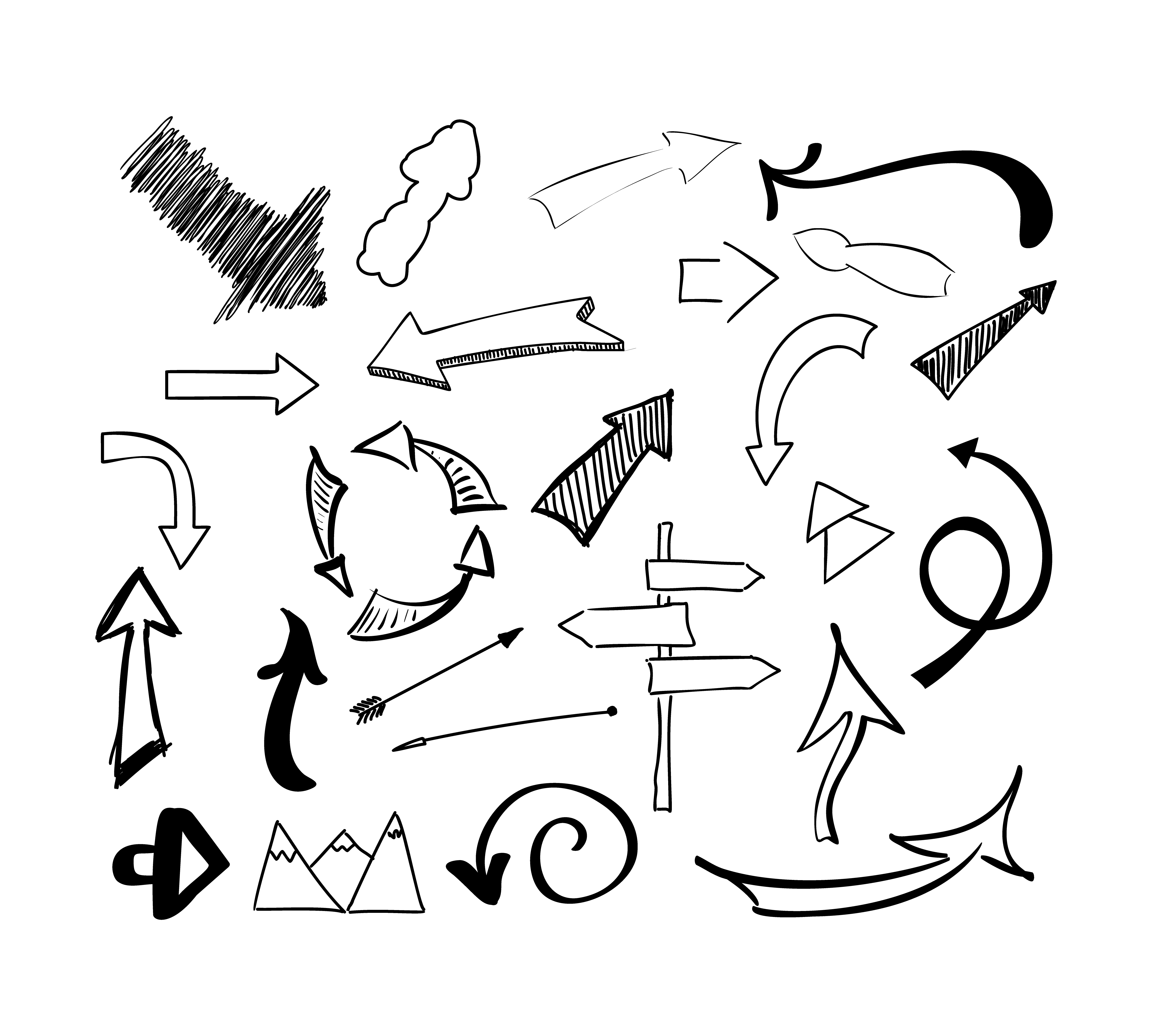 Hand Drawn Sketch Doodle Arrows Vector Set Isolated