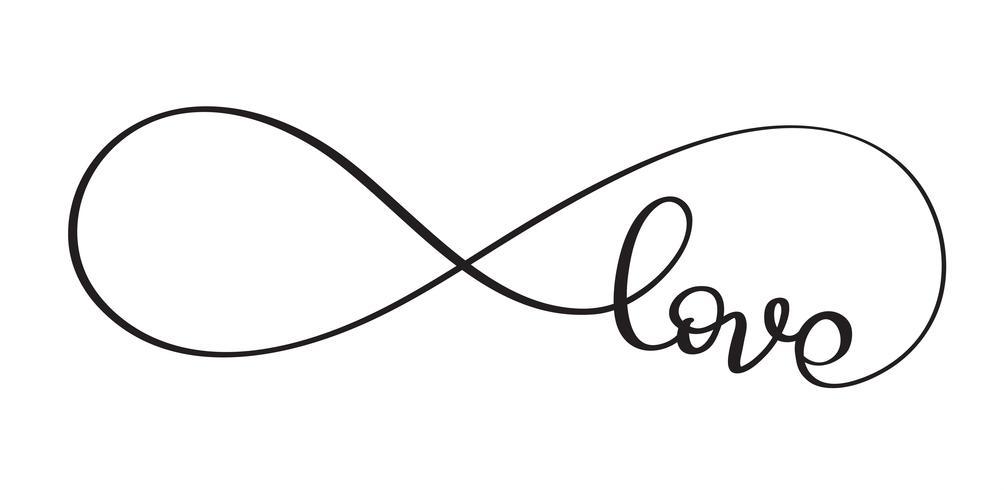 Parola d'amore nel segno dell'infinito. Vector calligrafia