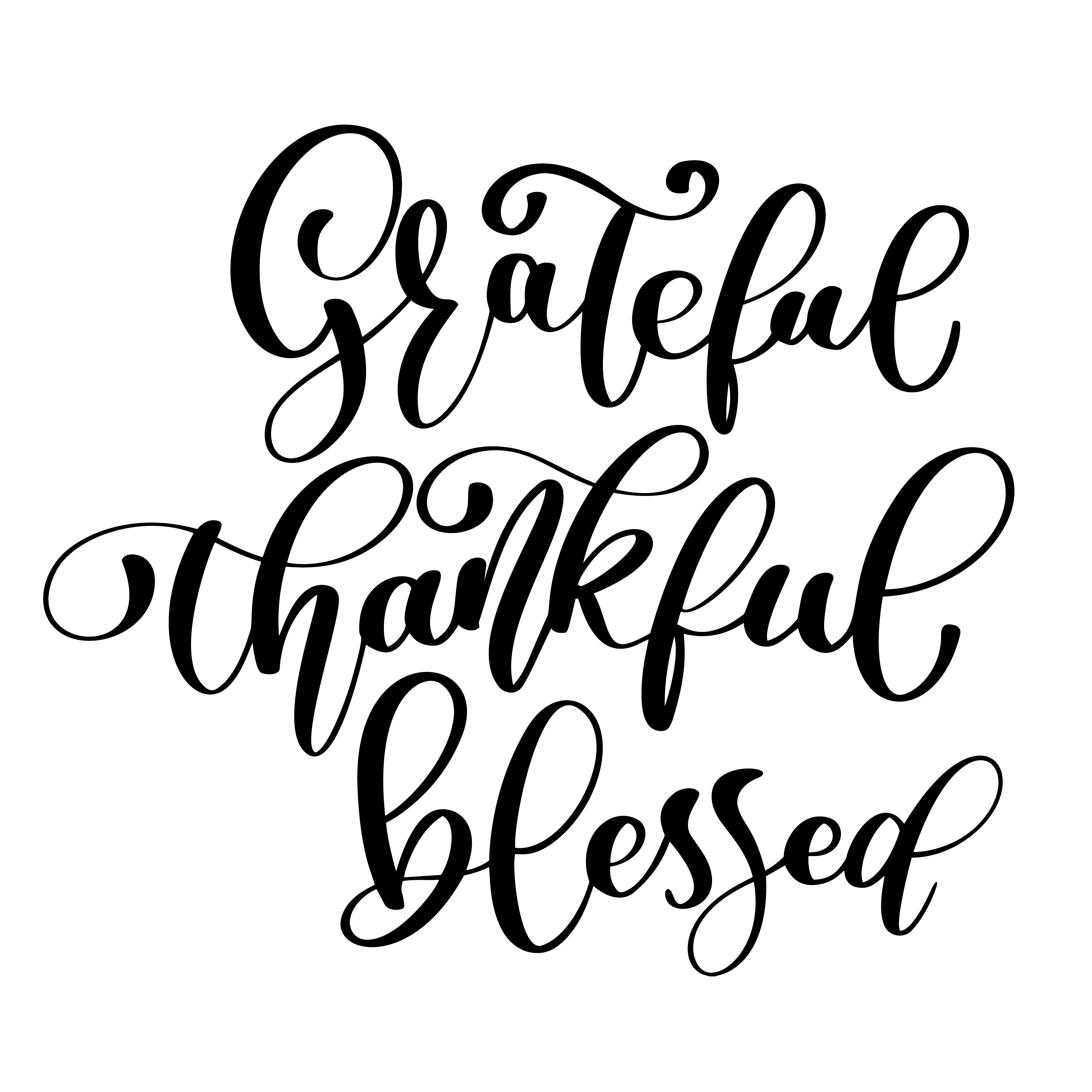 Typographic Vector Quote Thankful Grateful Blessed