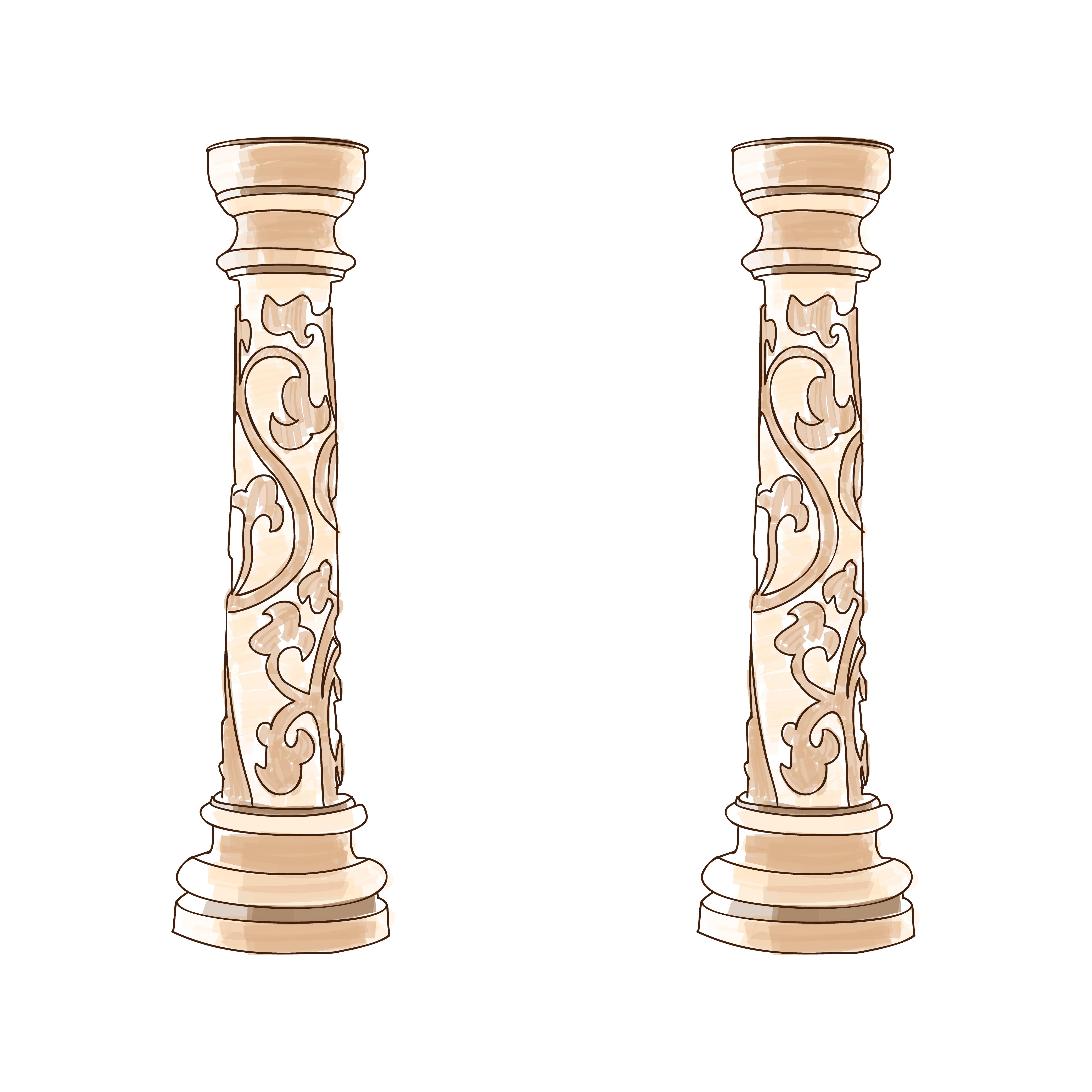 Stylized Greek Doodle Column Doric Ionic Corinthian