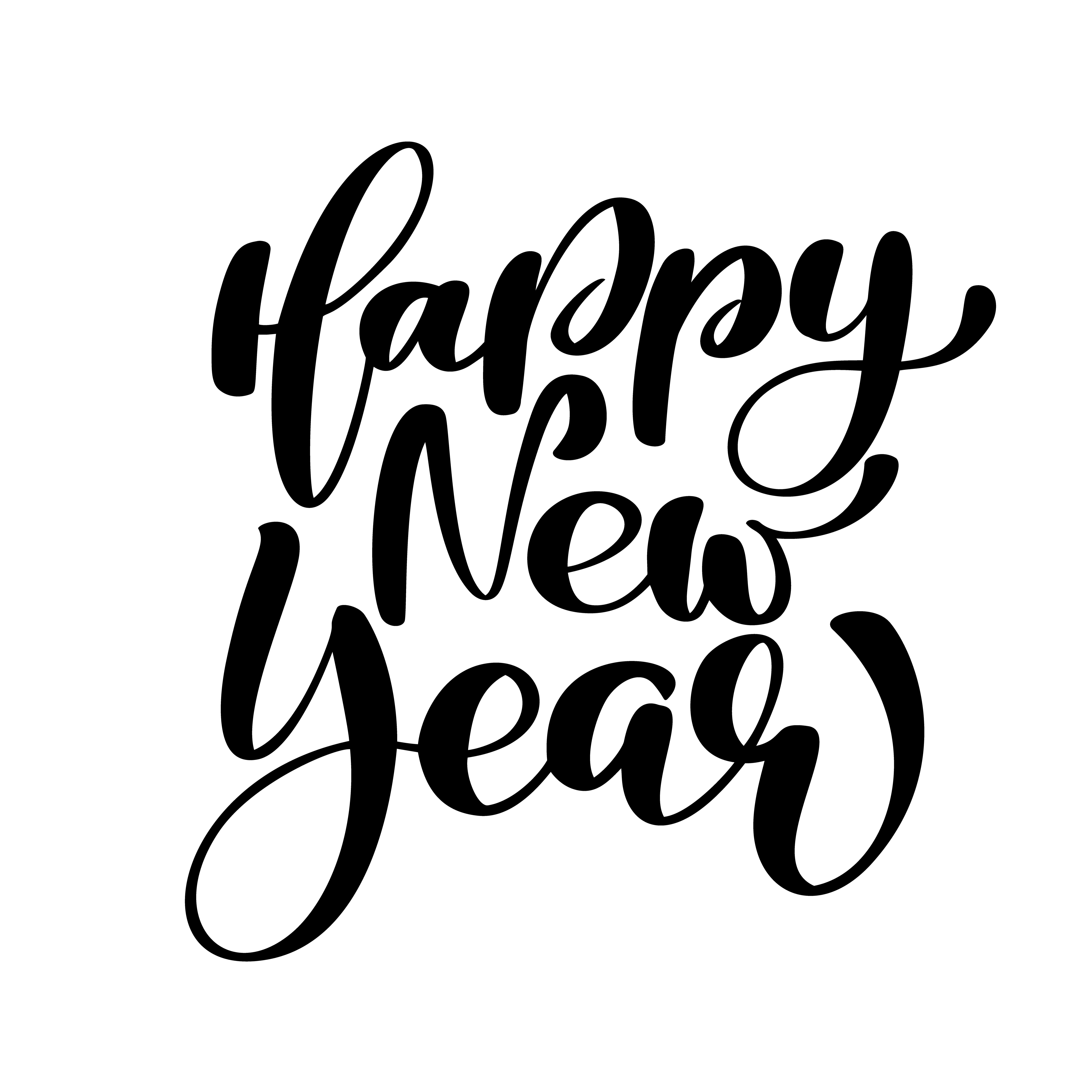 Happy New Year Hand Lettering Text Handmade Vector