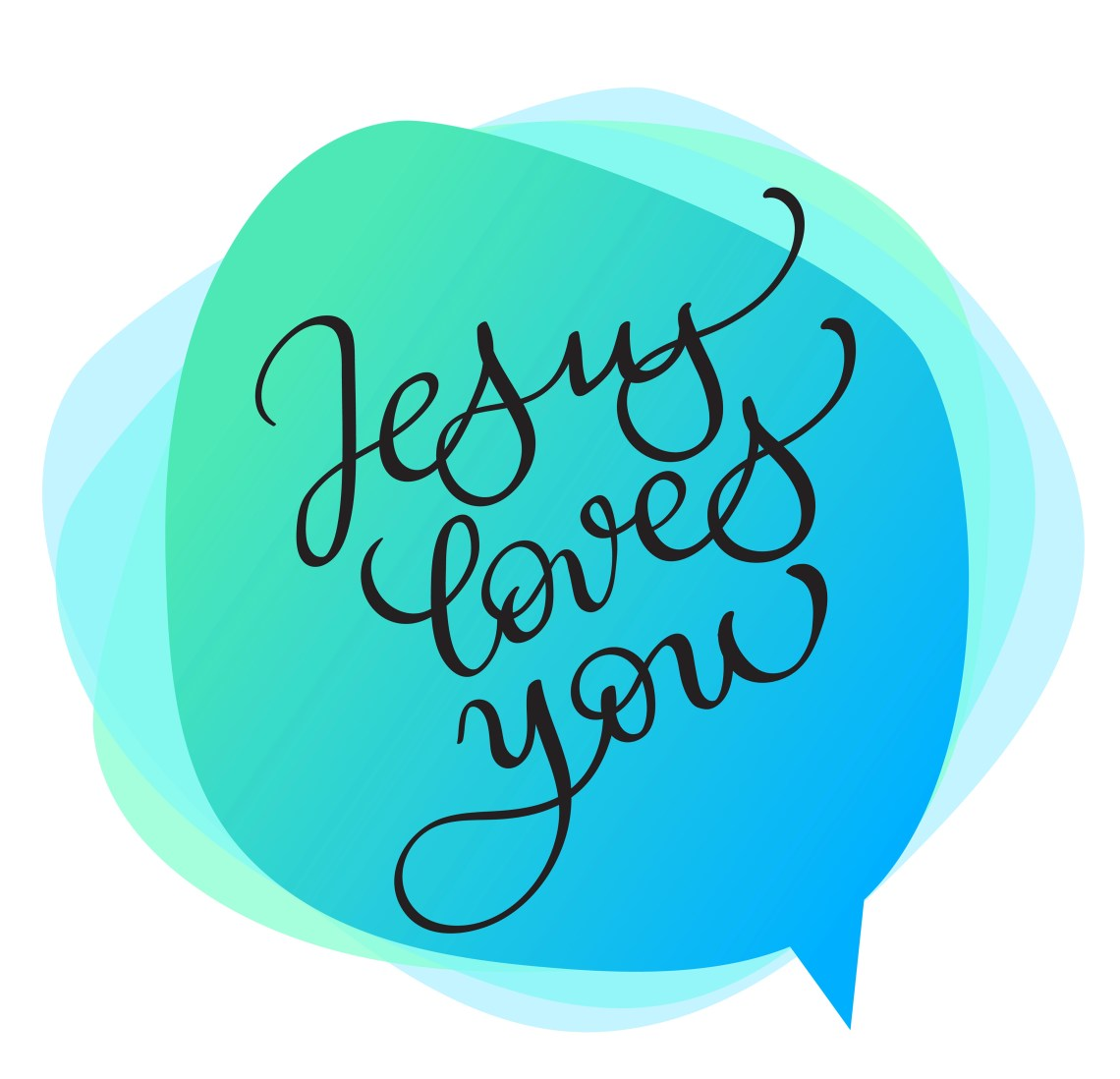 Download Jesus loves you vector text on green background ...