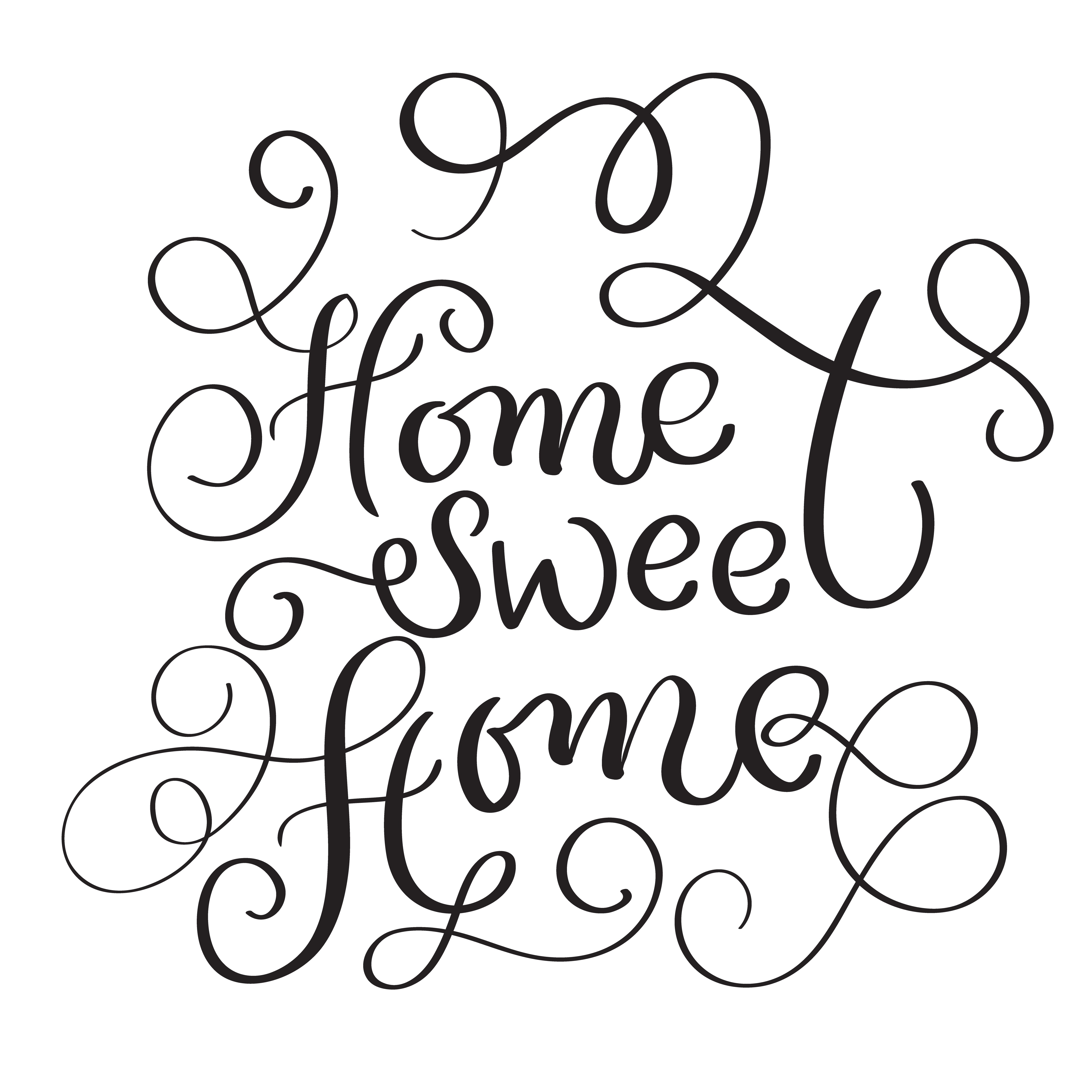 Home Sweet Home Words On White Background Hand Drawn