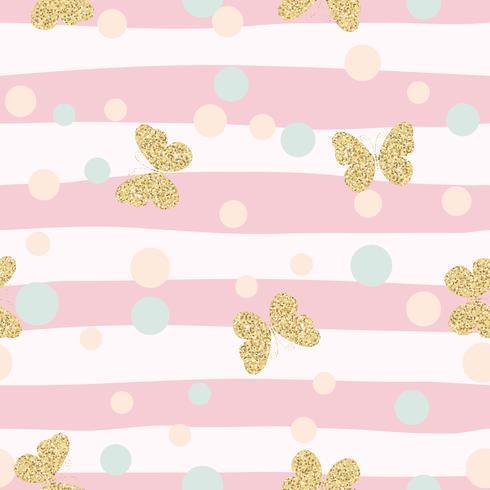 Cute Girl Sketch Wallpaper Gold Glittering Butterflies Confetti Seamless Pattern On