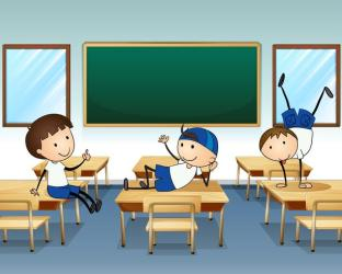 classroom inside playing boys three clipart vector