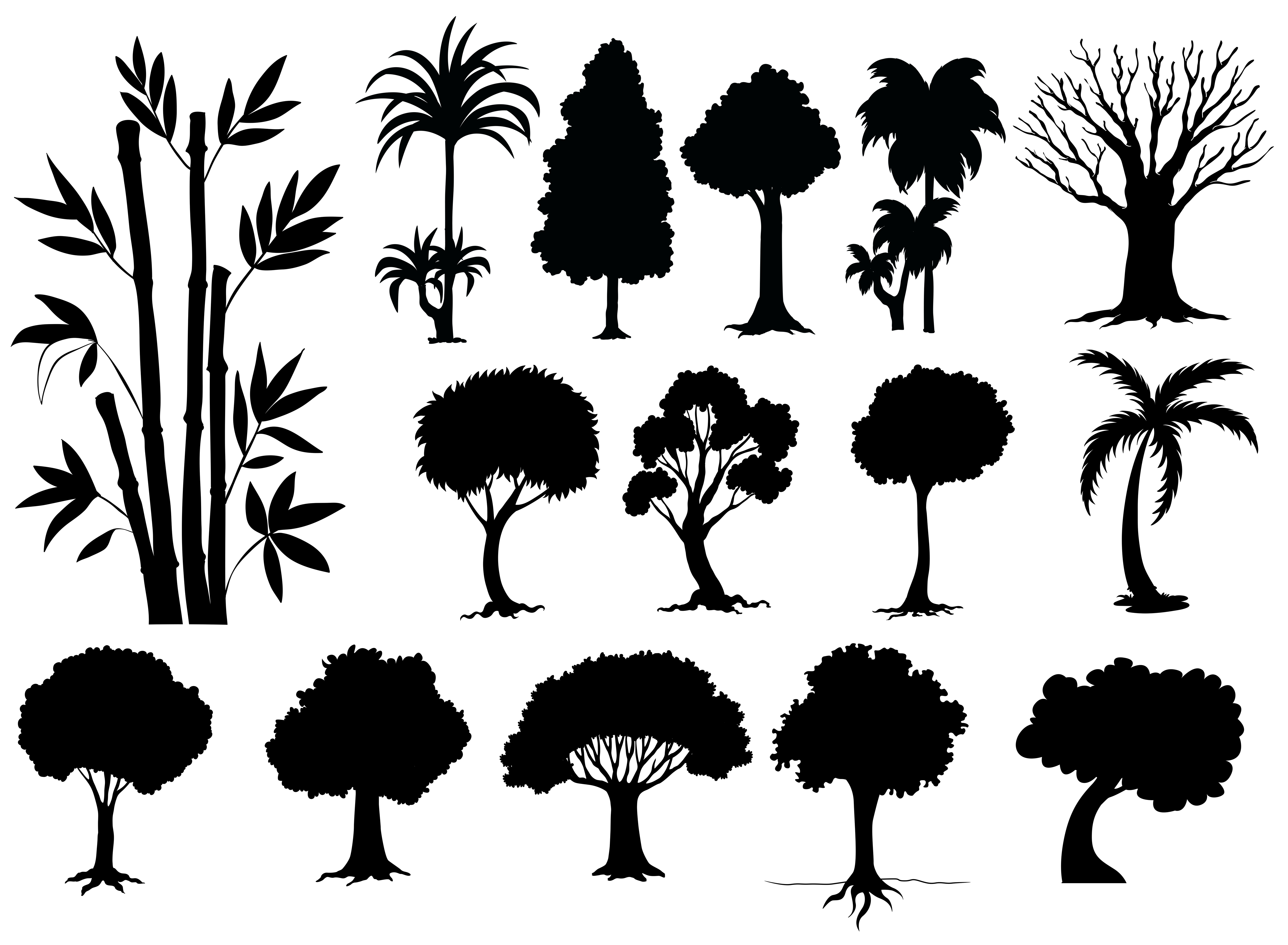 Tree Sihouette Free Vector Art