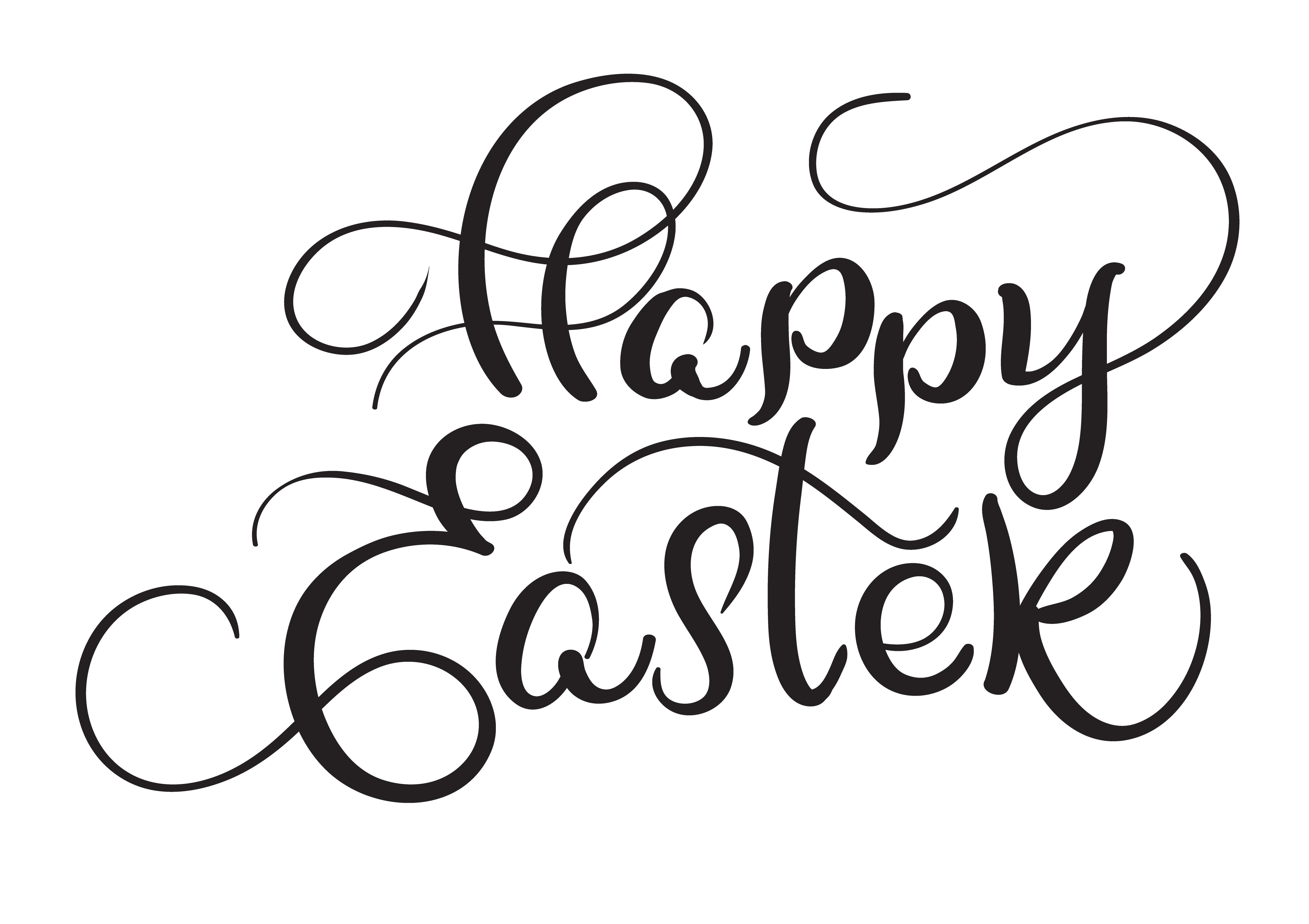 Happy Easter Words On White Background Calligraphy