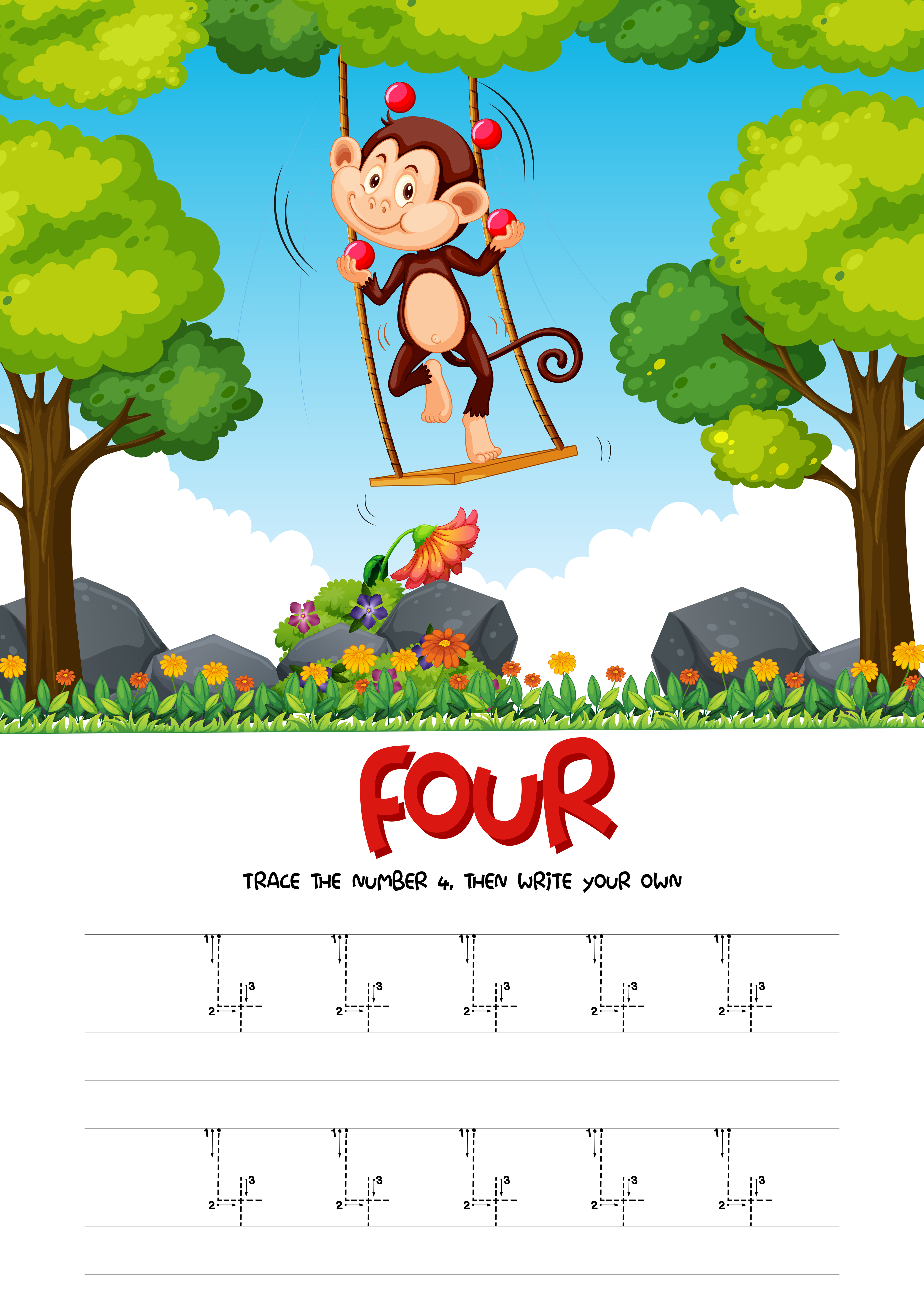 Number Four Tracing Worksheets