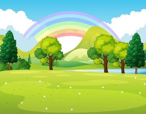 Nature Scene Of Park With Rainbow - Free