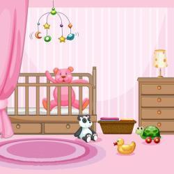 Bedroom scene with pink teddybear in babycot Download Free Vectors Clipart Graphics & Vector Art