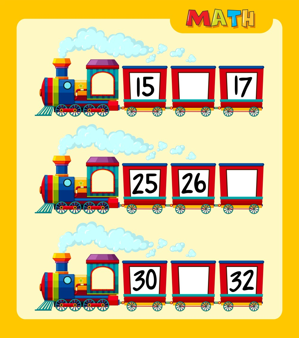 medium resolution of Counting numbers on train worksheet template 419525 - Download Free  Vectors