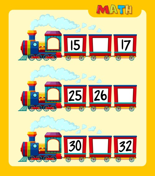 small resolution of Counting numbers on train worksheet template 419525 - Download Free  Vectors
