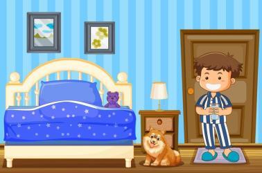 Boy and dog in blue bedroom Download Free Vectors Clipart Graphics & Vector Art