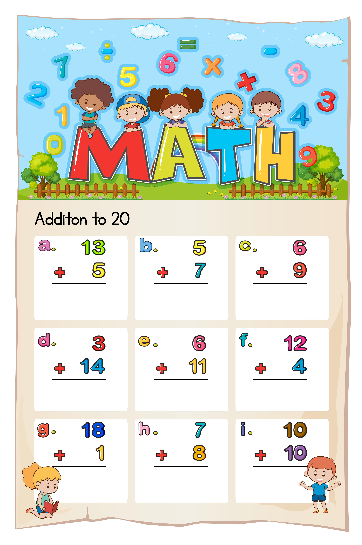 Math Worksheet For Addition To Twenty