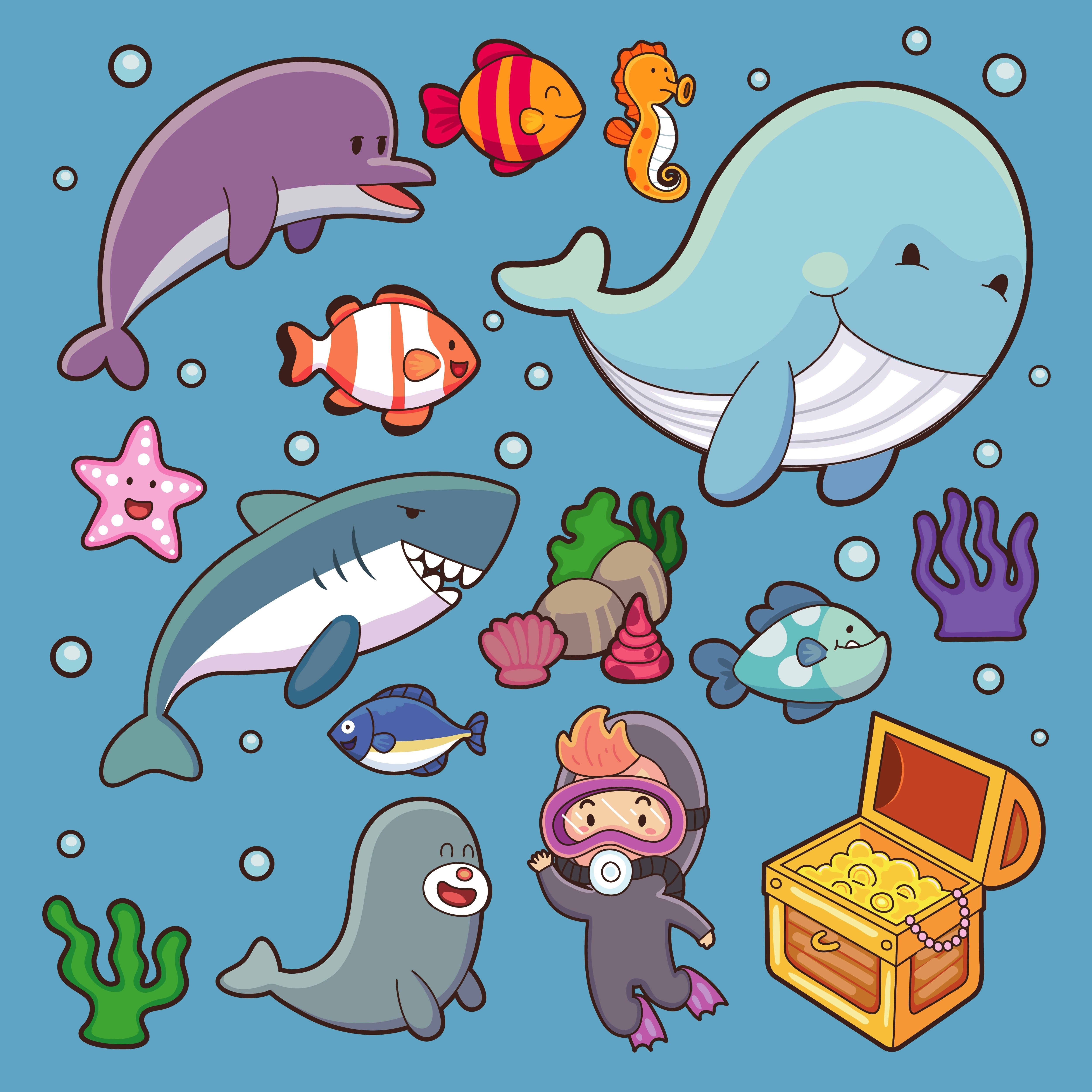 Sea Animals Vector Water Plants Ocean Fish Cartoon Illustration Undersea Water Marine Aquatic Character Life Underwater Wildlife Tropical Whale Turtle Dolphin Jellyfish Starfish Download Free Vectors Clipart Graphics Vector Art