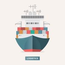 Sea Transportation Logistic. Freight. Cargo Ship