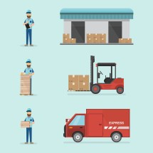 Warehouse And Logistic Flat Design. Delivery Storage