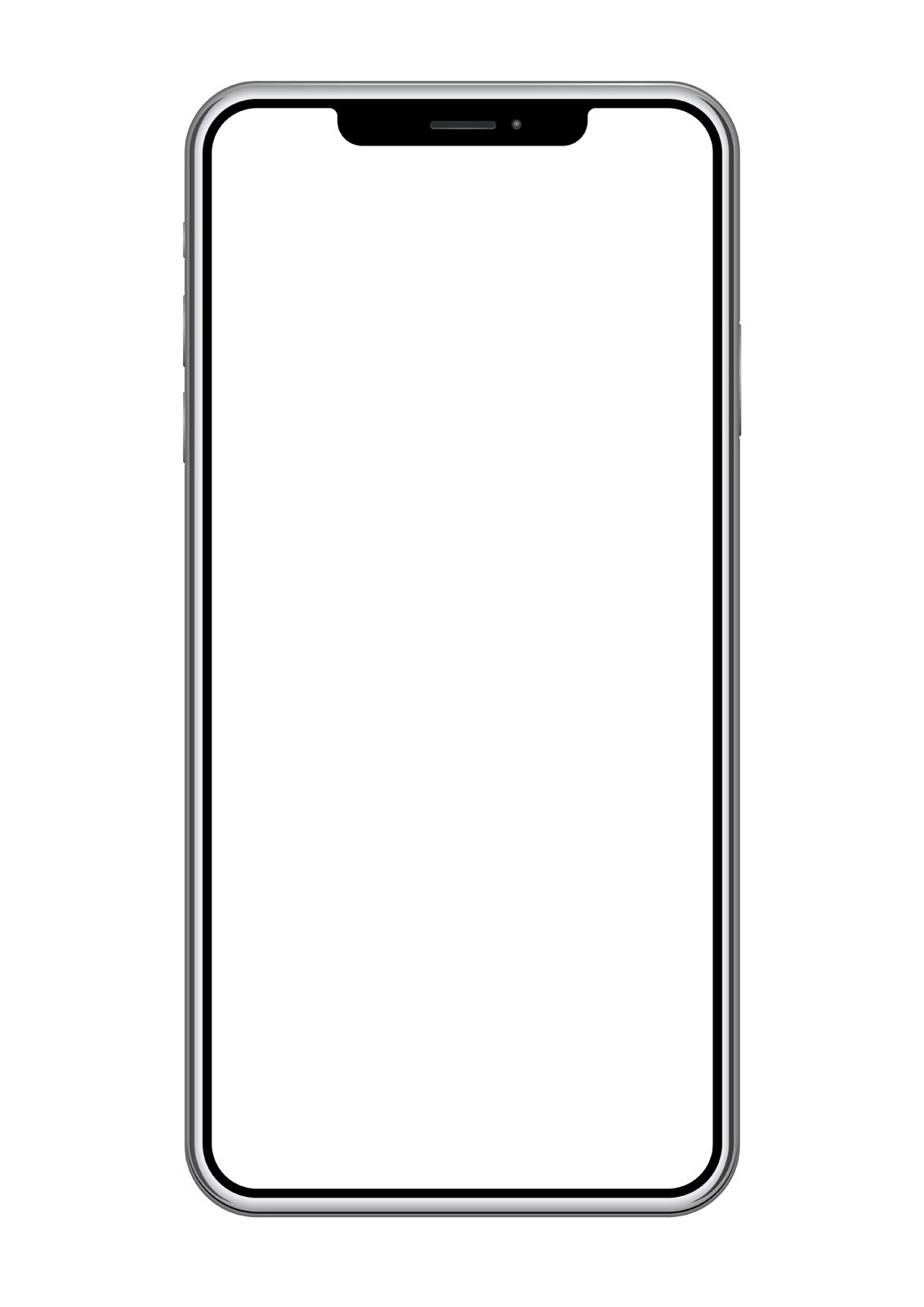 Smartphone with a blank screen isolated on a white