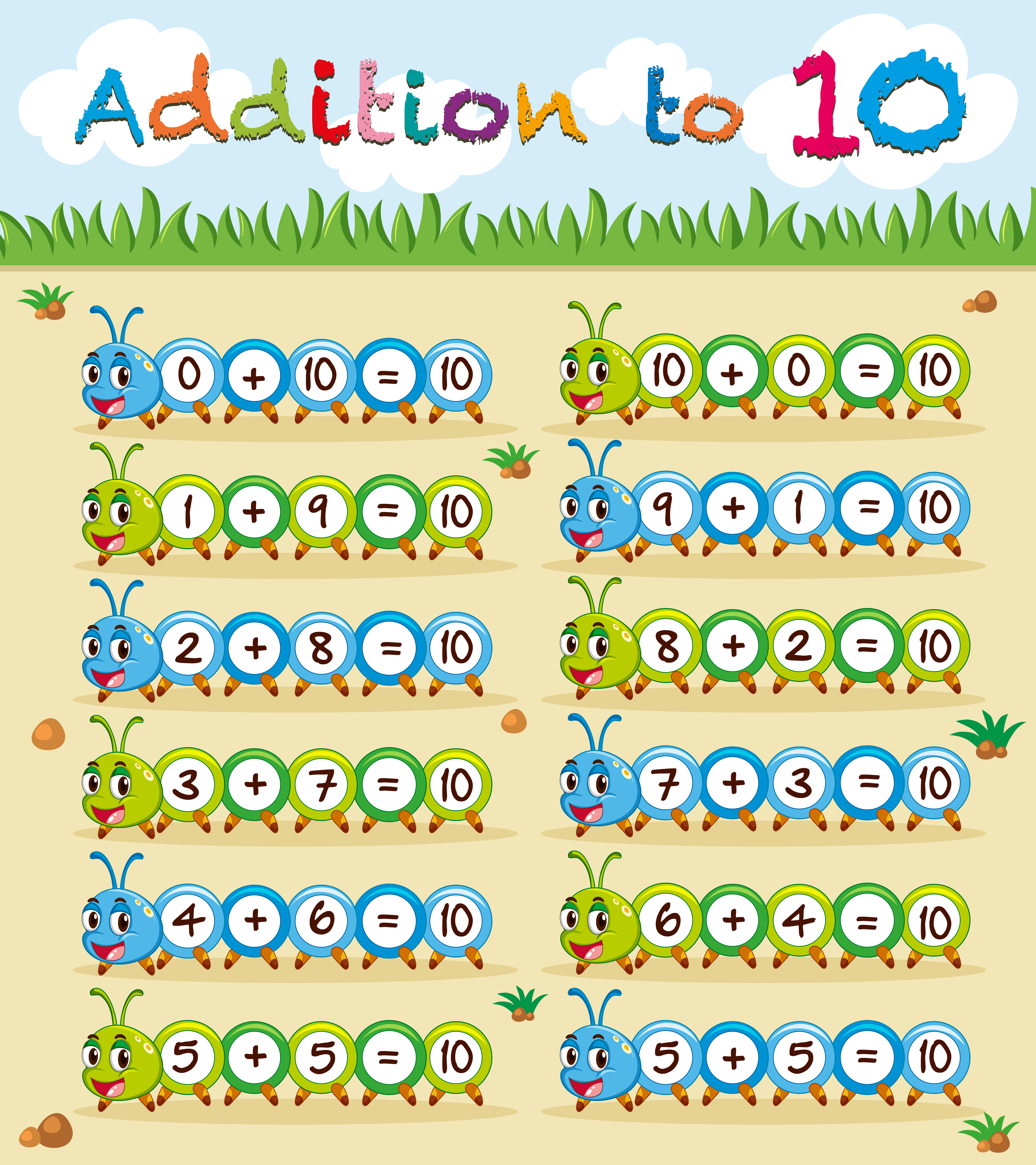 Addition To Ten Worksheet With Caterpillar