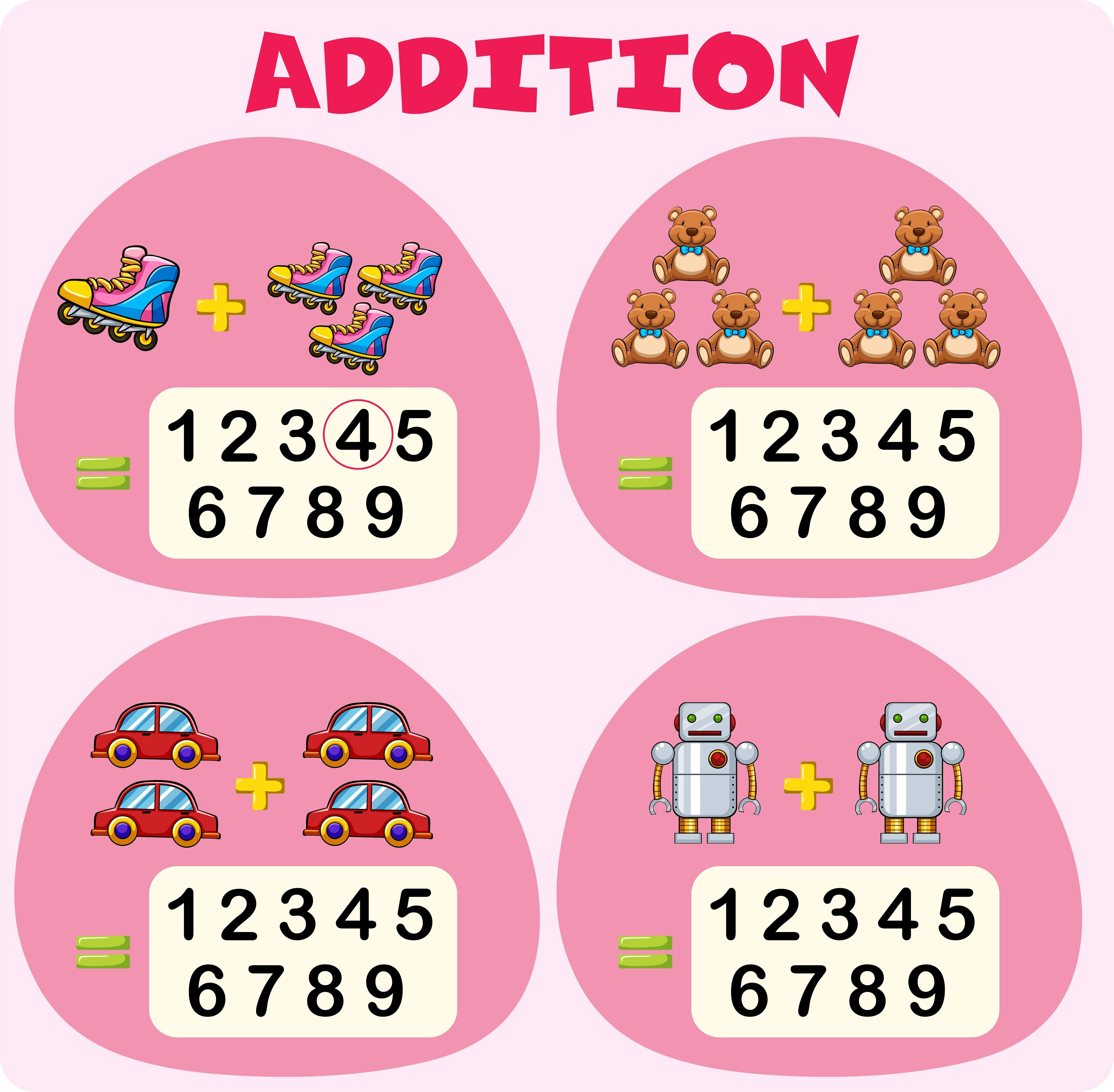Addition Worksheet Template With Toys
