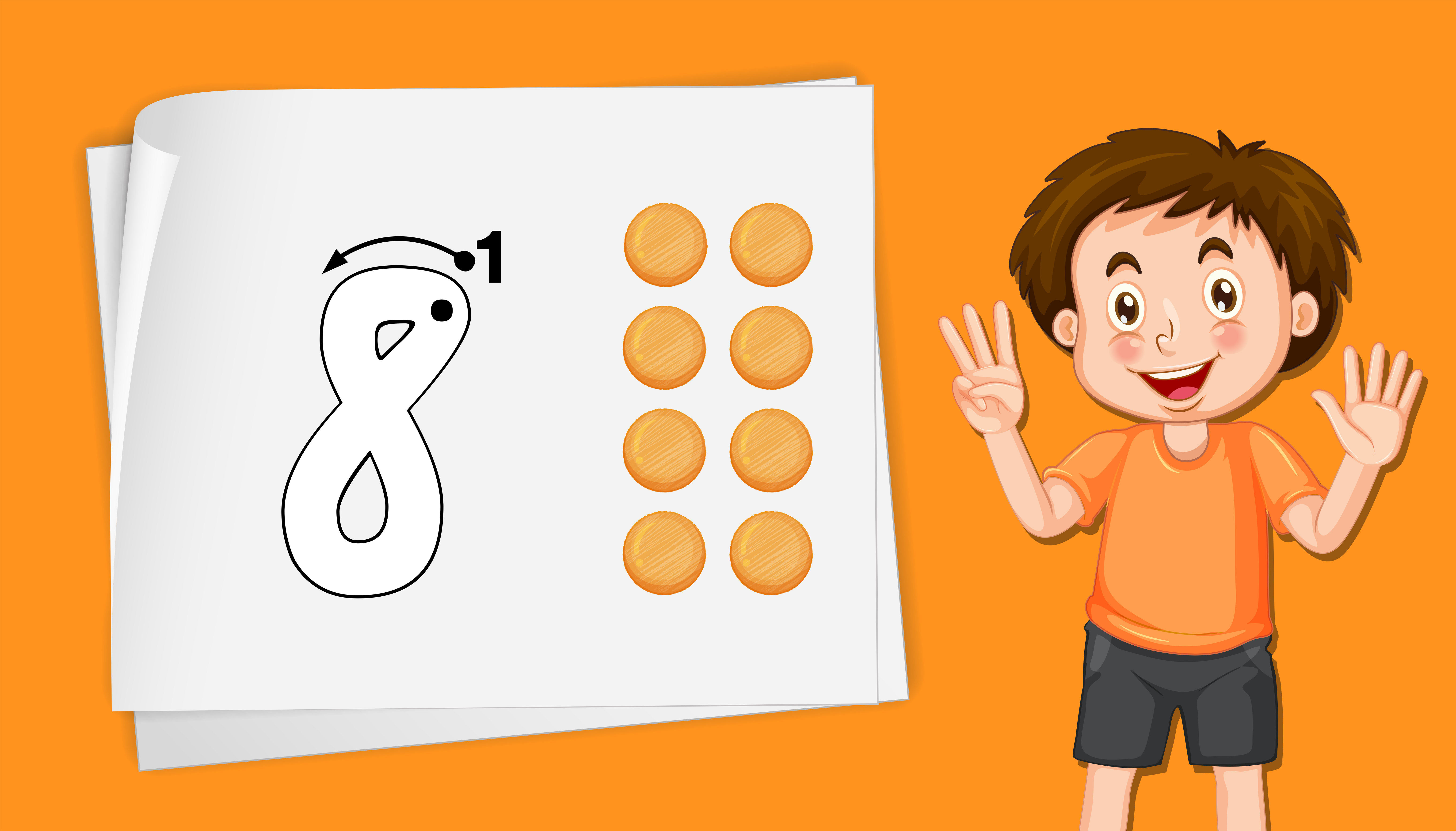 Boy With Number Eight Tracing Worksheets