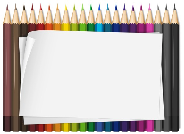 Blank Paper With Colorful Color Pencils - Free