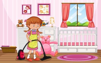 A Mother Cleaning Kid Bedroom Download Free Vectors Clipart Graphics & Vector Art