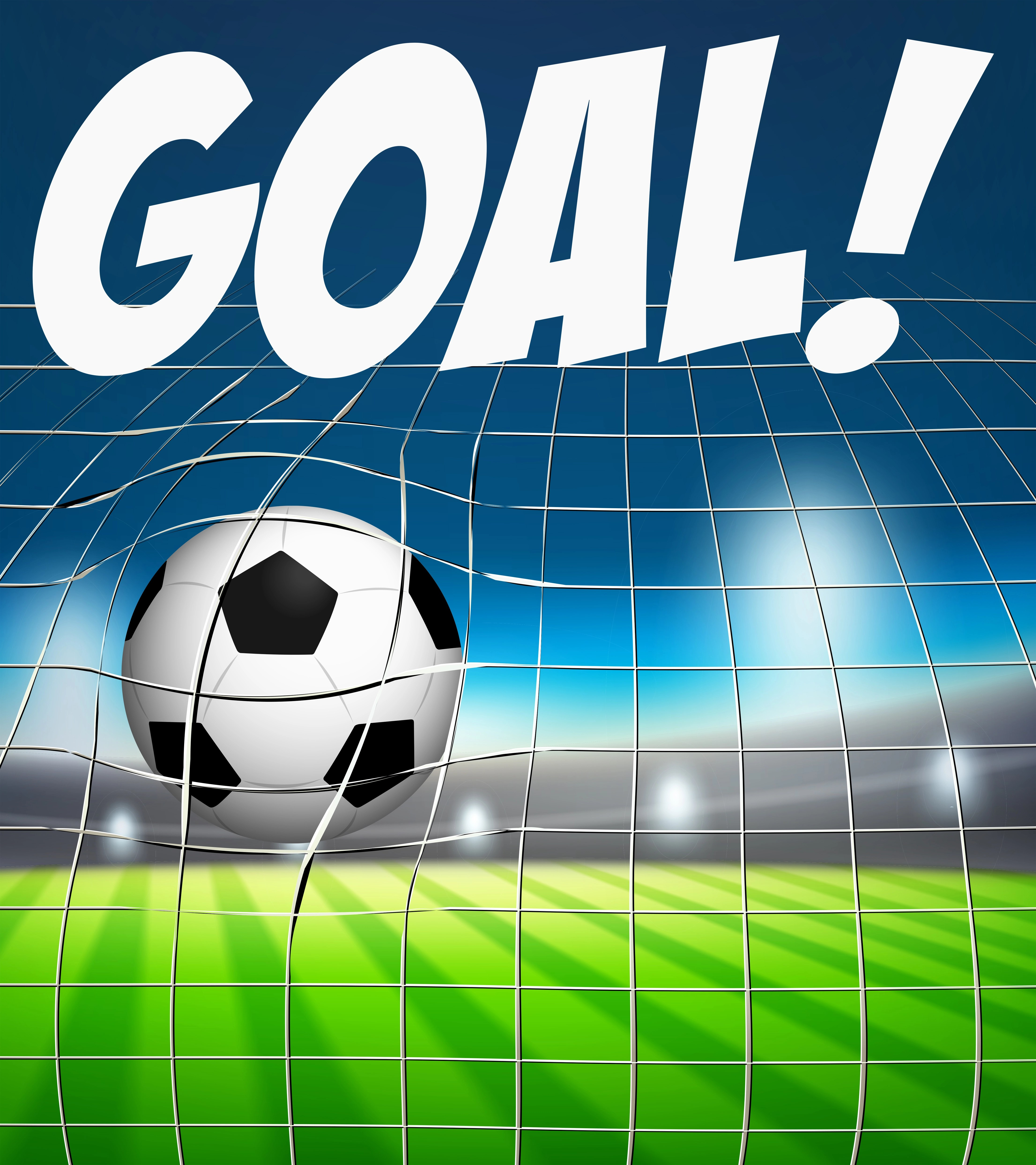 Goal With Soccer Ball In Net Concept
