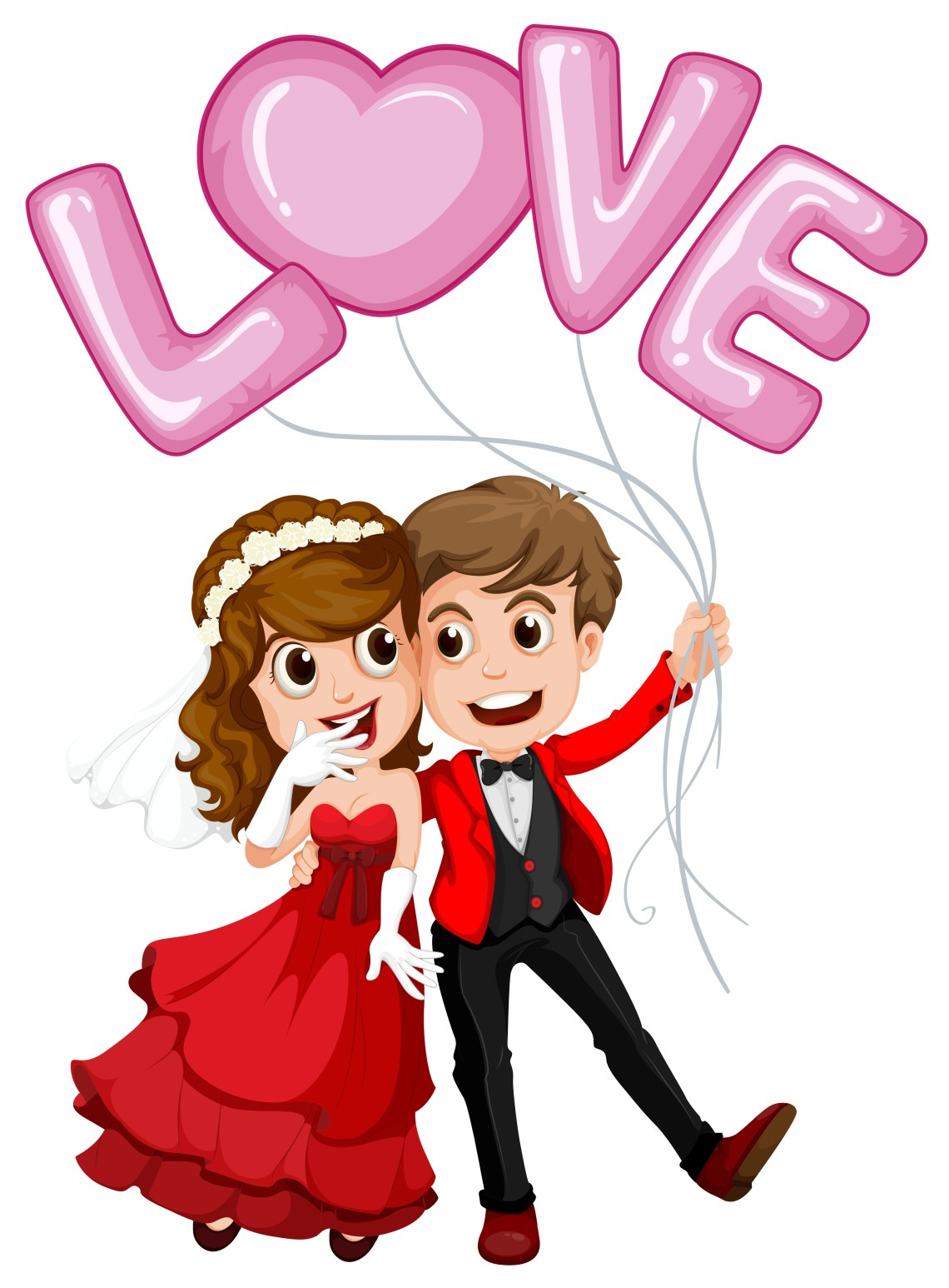 Download Wedding couple and love balloon - Download Free Vectors ...