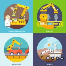 Robotic Arm Flat - Free Vector Art Stock
