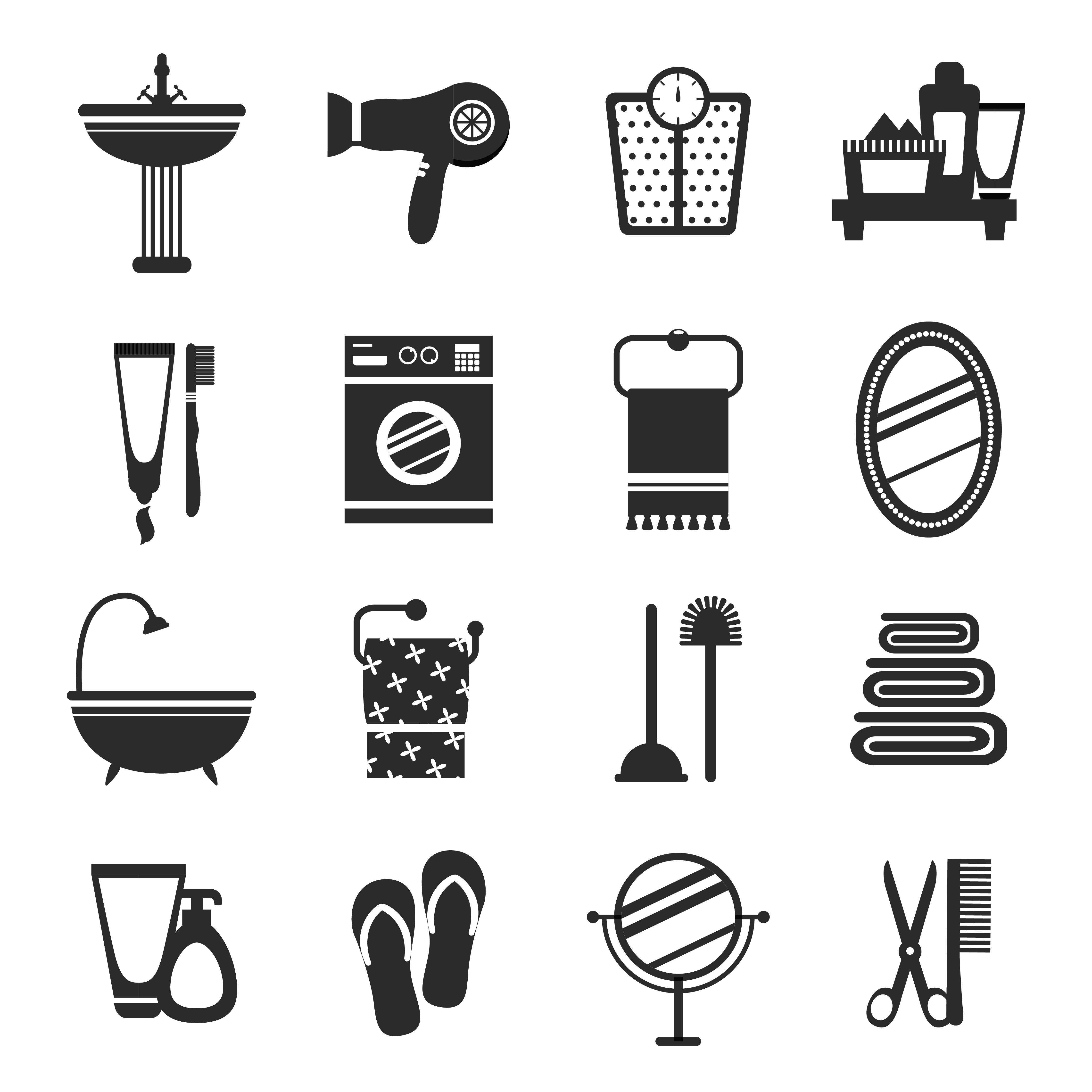 Bathroom Icon Set Black And White Download Free Vectors Clipart Graphics Vector Art