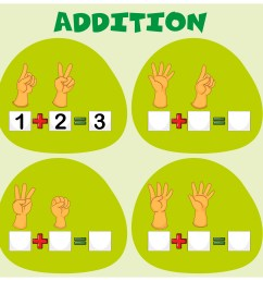 Addition worksheet with hand symbols - Download Free Vectors [ 4652 x 4729 Pixel ]
