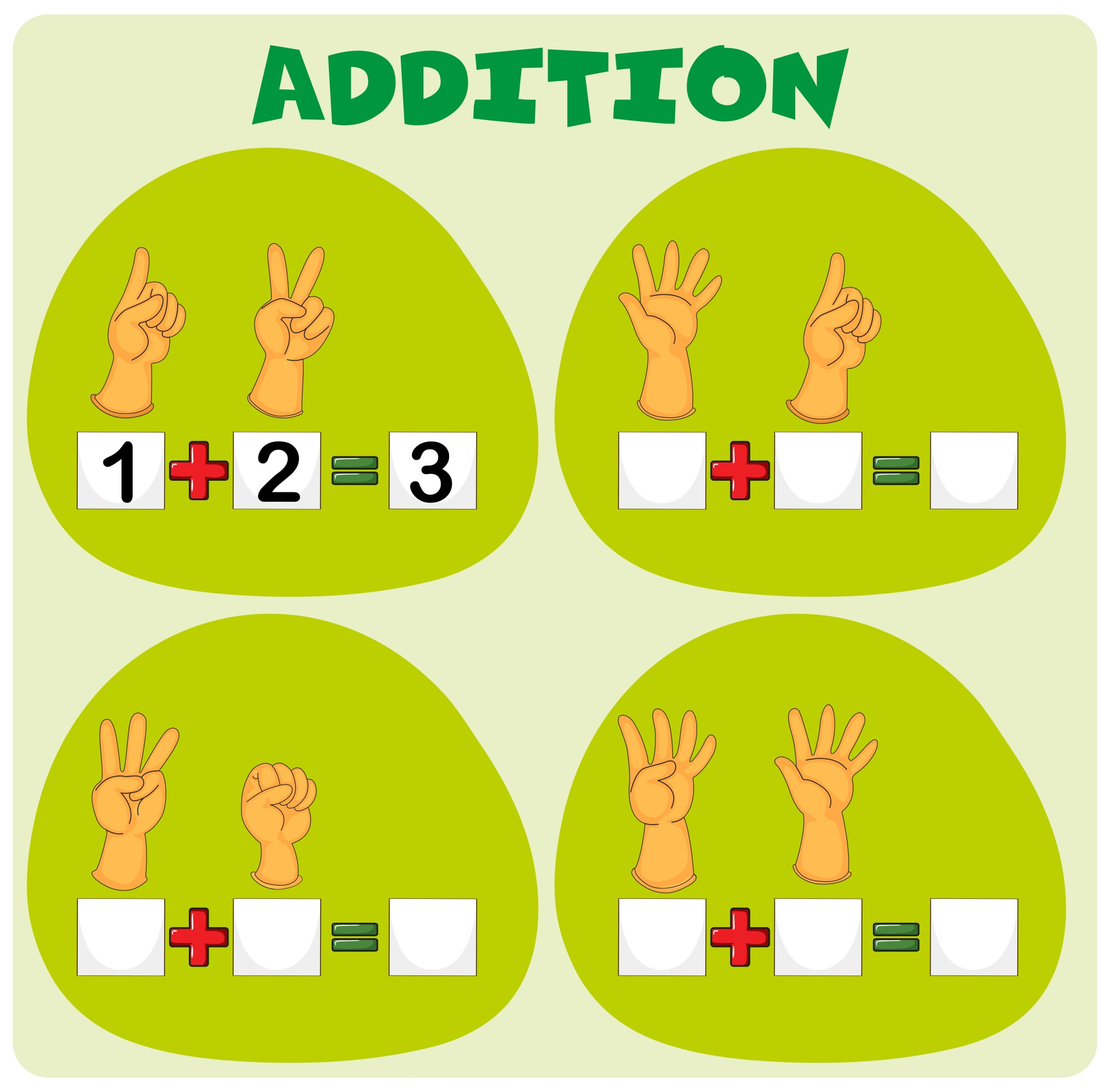 hight resolution of Addition worksheet with hand symbols - Download Free Vectors