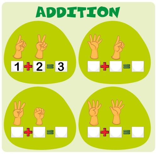 small resolution of Addition worksheet with hand symbols - Download Free Vectors