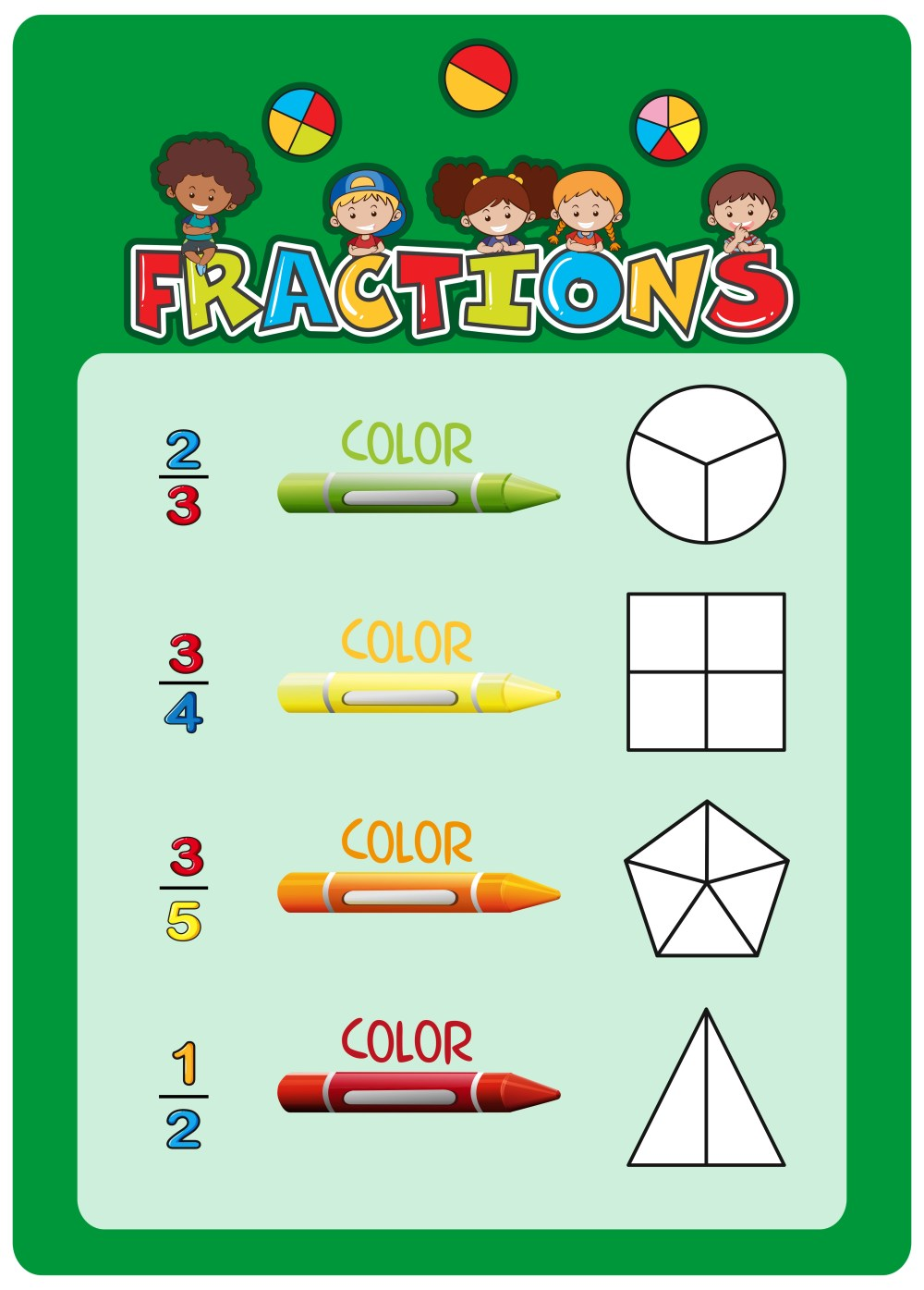 medium resolution of Math fractions worksheet template - Download Free Vectors