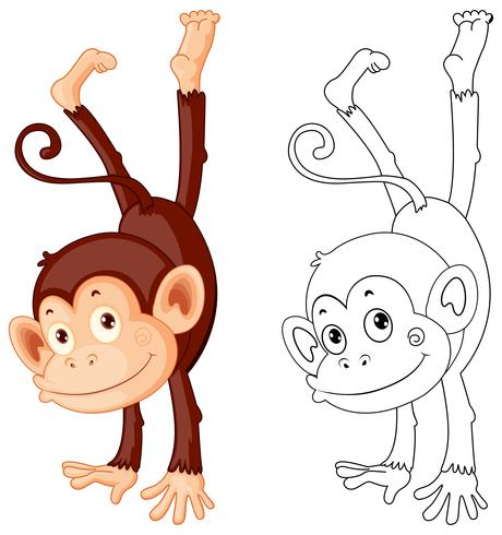 Animal Doodle Outline For Cute Monkey Download Free Vectors Clipart Graphics Vector Art