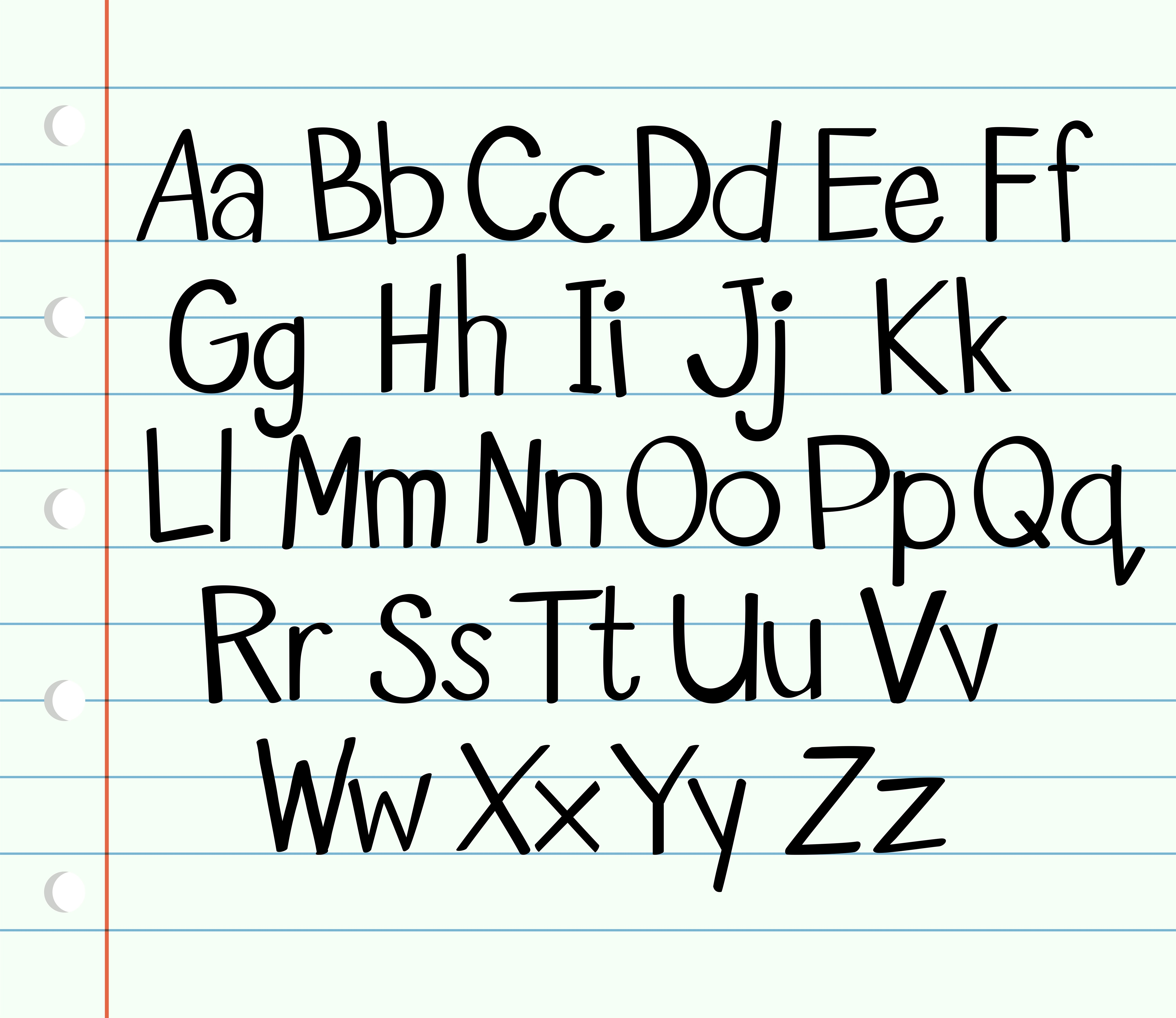 Handwriting English Alphabet In Upper And Lower Cases