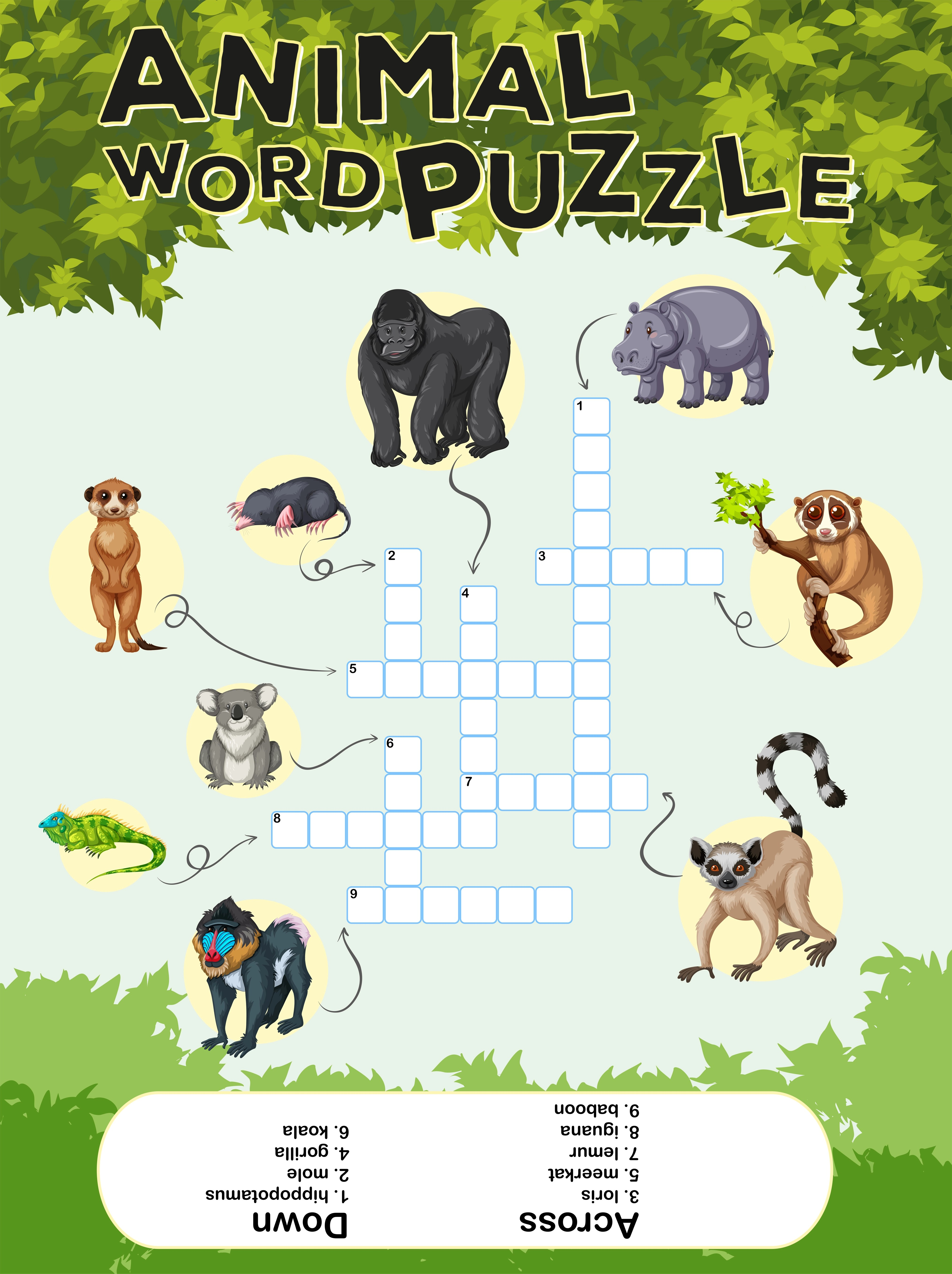 Game Design For Animal Word Puzzle