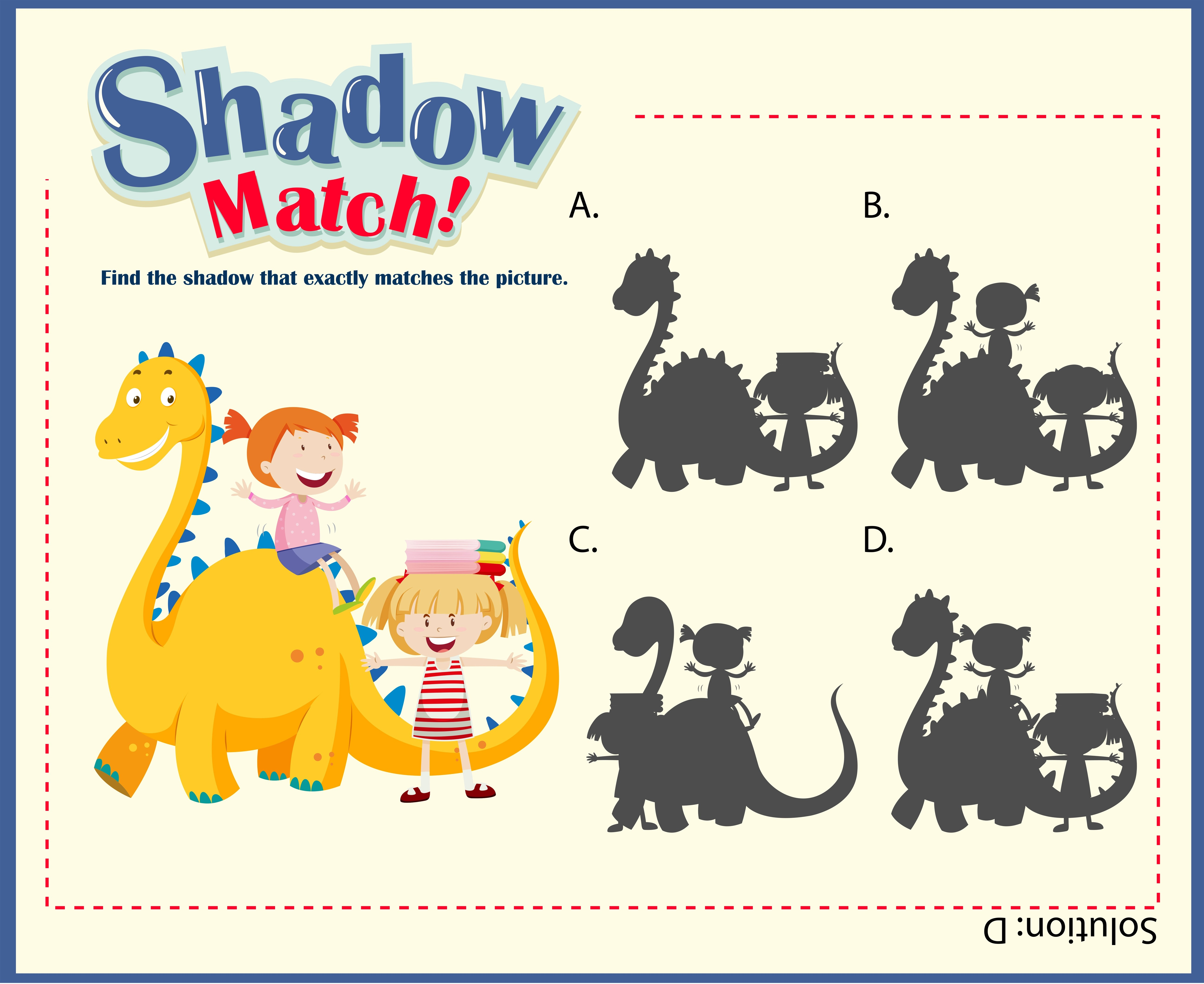 Shadow Matching Game Template With Kids And Dragon
