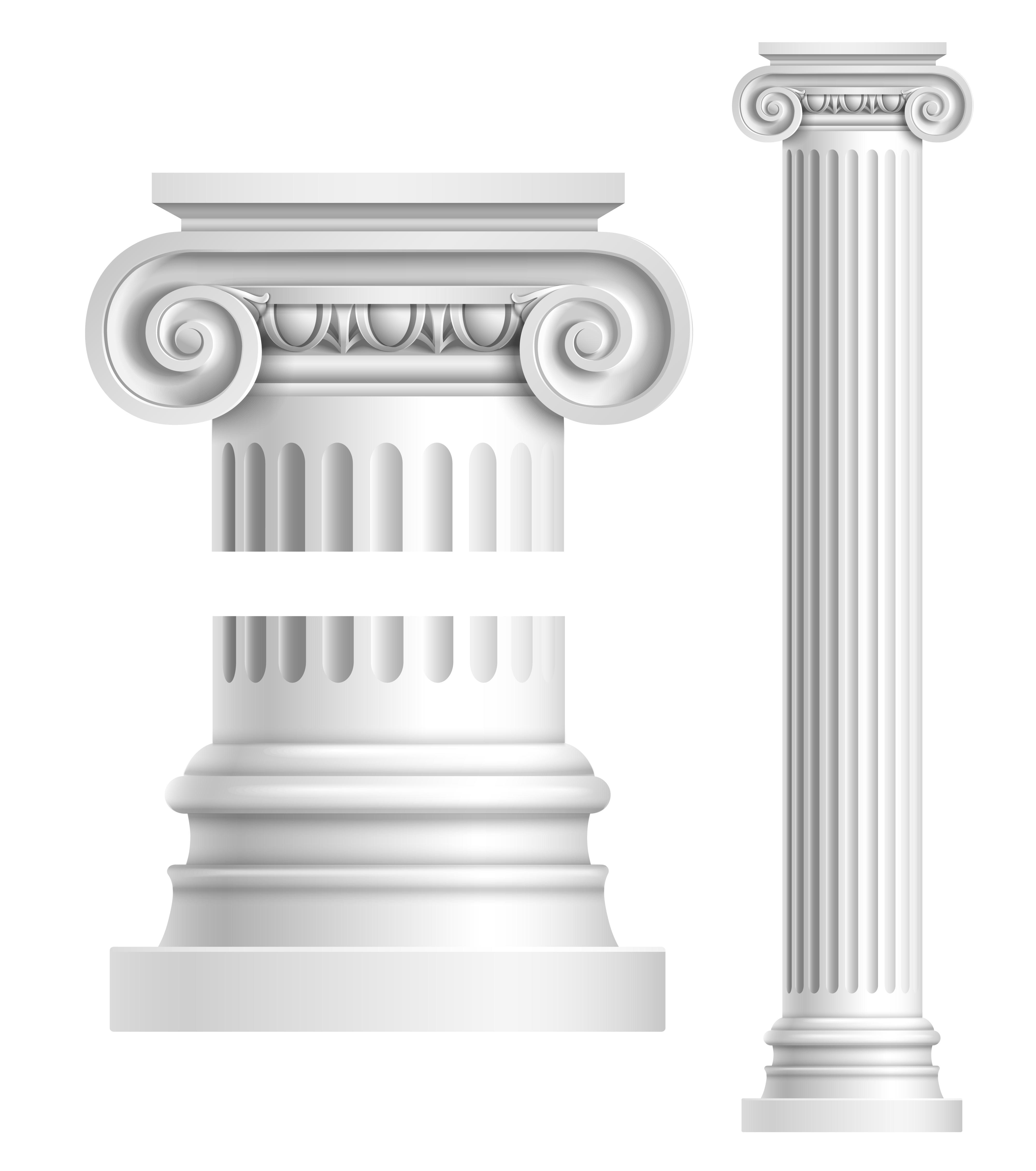 Realistic White Antique Column