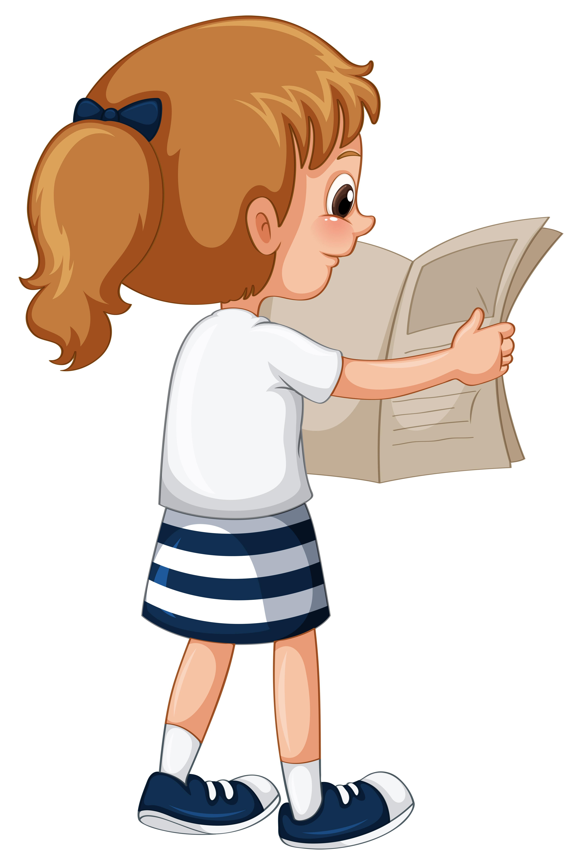 Little Girl Reading Newspaper