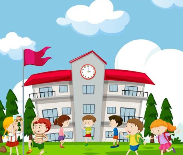Students Playing In Front Of School Download Free Vectors