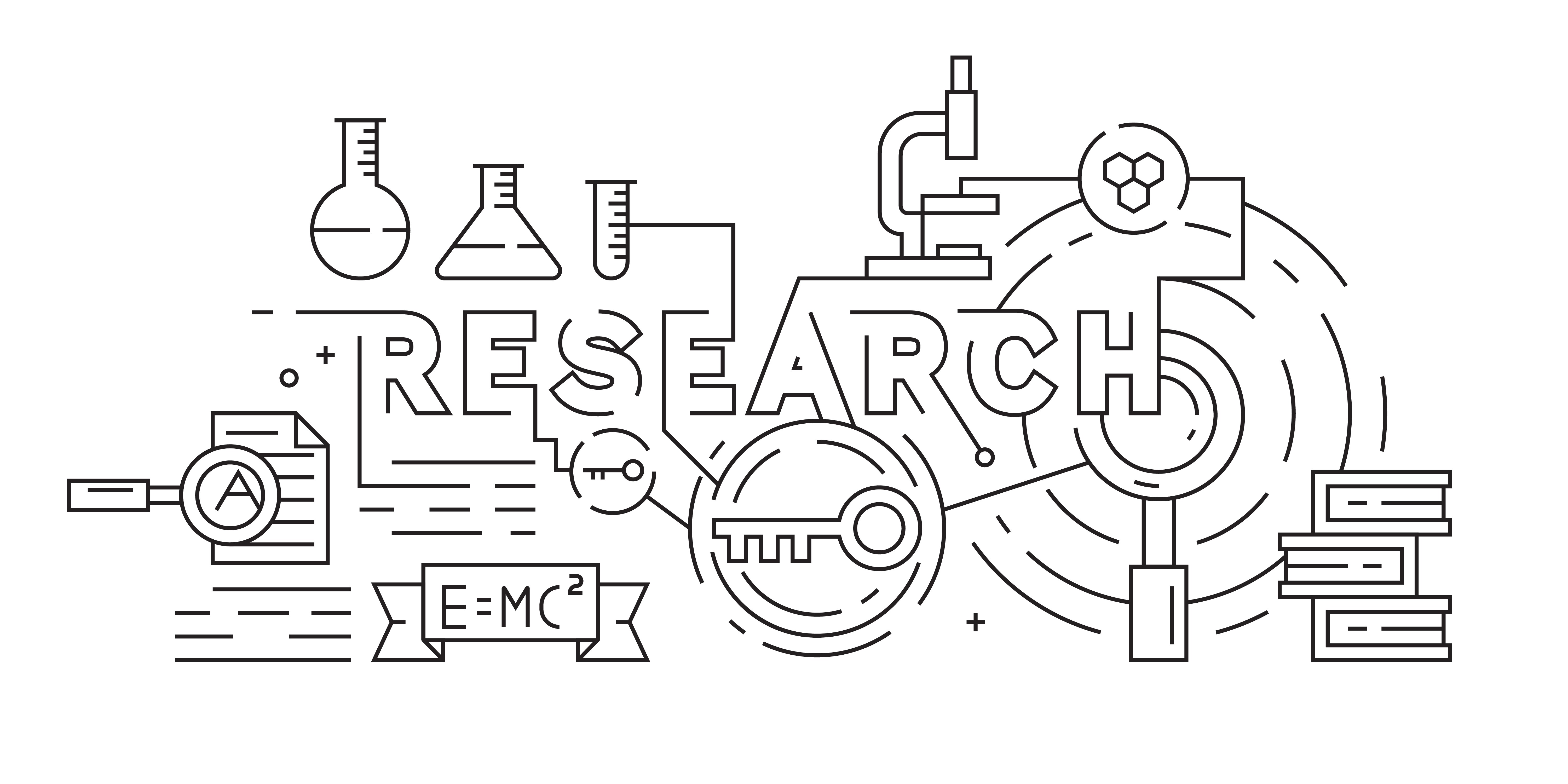 Research, Riset, or Science Illustration. Black and White