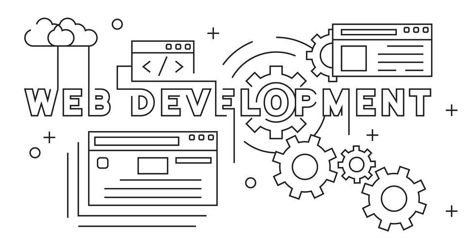 Web Development Illustration. Website Developing Flat Line