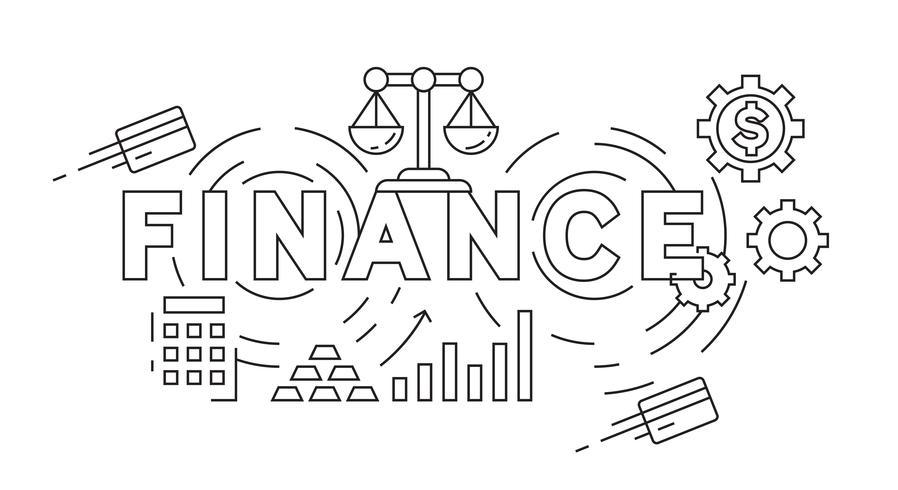 Finance Flat Line Design Concept. Black and White Doodle