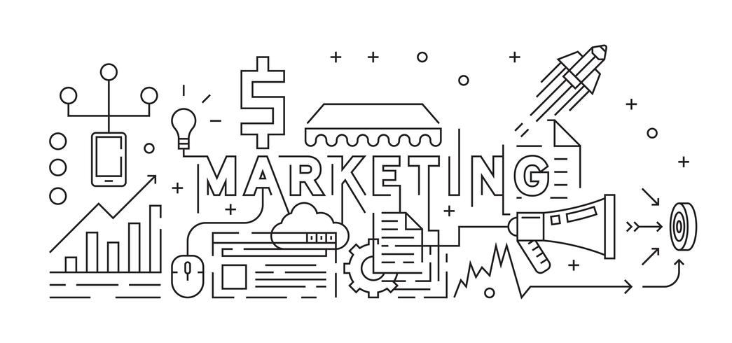 Marketing Concept Line Art Design Flat Line Design Monoline Design Black And White Doodle Youth Style Vector Business And Marketing Theme Download Free Vectors Clipart Graphics Vector Art