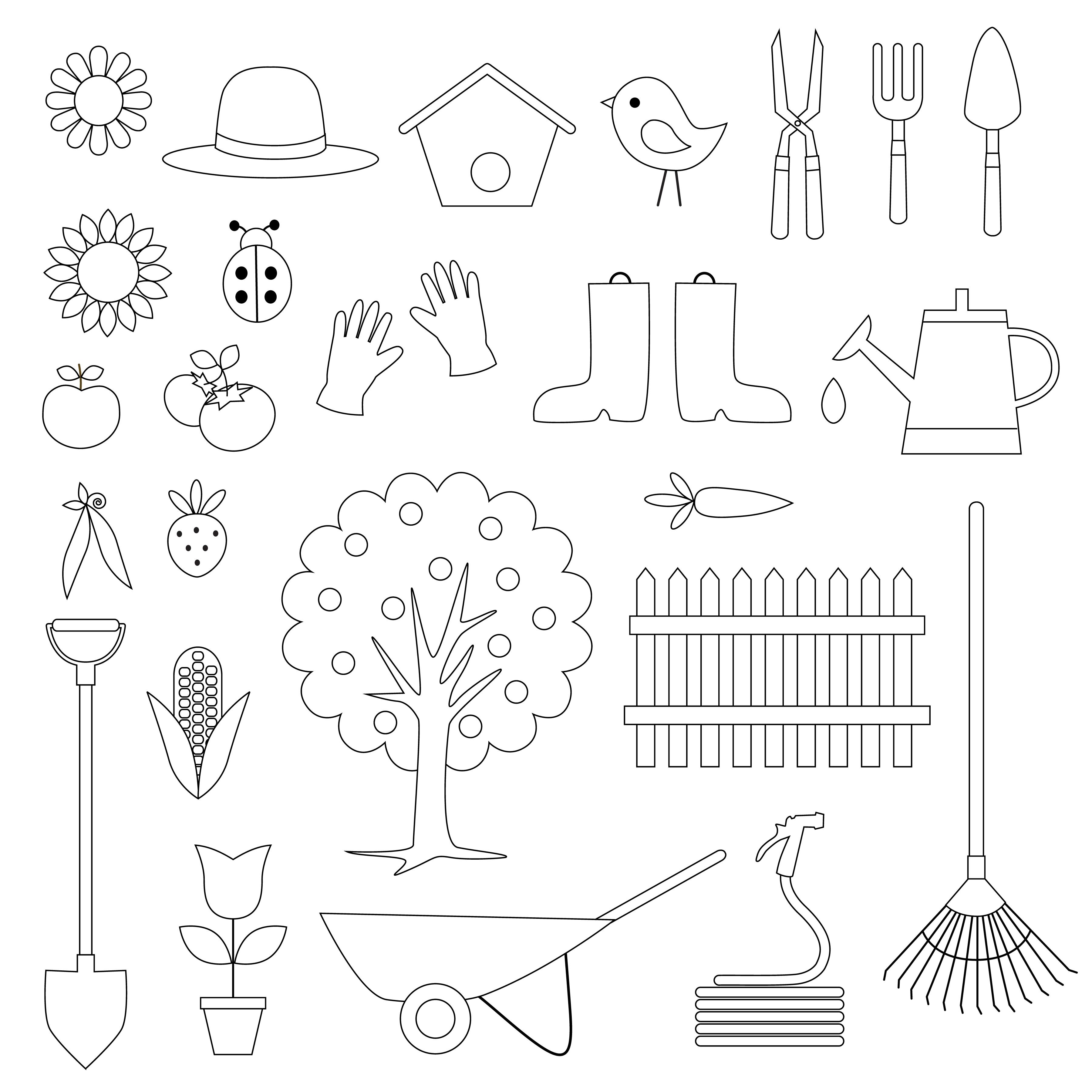 Gardening Digital Stamps Clipart
